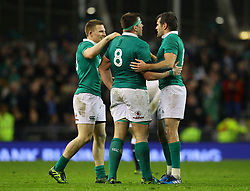 Andrew Conway, CJ Stander and Jared Payne celebrate Ireland's win - Mandatory by-line: Ken Sutton/JMP - 18/03/2017 - RUGBY - Aviva Stadium - Dublin,  - Ireland v England - RBS 6 Nations