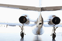 Back view of private airplane