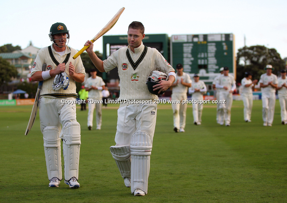 Australian batsmen Marcus North and Michael Clarke walk off at the end of the first day.<br /> 1st cricket test match - New Zealand Black Caps v Australia, day one at the Basin Reserve, Wellington.Friday, 19 March 2010. Photo: Dave Lintott/PHOTOSPORT