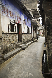 Alley at Fuli Ancient Town, Guangxi Zhuang Autonomous Region, China.<br /> <br /> Fuli is a Ming Dynasty town built on the Li River's northern banks.<br /> The village has a history of 800 years, narrow, winding cobblestone streets and ancient temples.