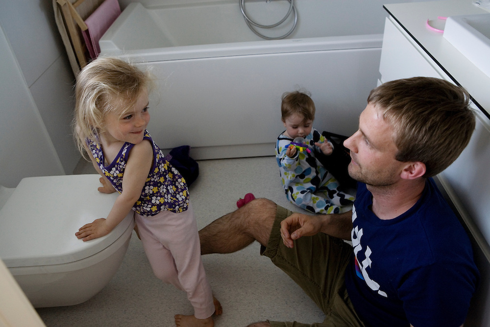 Aarhus, Denmark, June 3rd, 2010. Thomas  with Aja and Theo. Thomas took two months of paternity leave to care for children while his wife Vinne works.