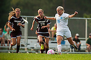 The girls varsity soccer game between the North country Falcons and the Mount Mansfield Cougars at MMU High School on Wednesday afternoon September 2, 2015 in Jericho, Vermont. Photo by Vermont sports photographer Brian Jenkins