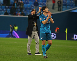 November 5, 2019, Saint-Petersburg, Russia: Russian Federation. Saint-Petersburg. Gazprom Arena. Football. UEFA Champions League. Group G. round 4. Football club Zenit - Football Club RB Leipzig. Player of Zenit football club Serdar Azmun and Head coach of Zenit football club Sergey Semak. (Credit Image: © Russian Look via ZUMA Wire)
