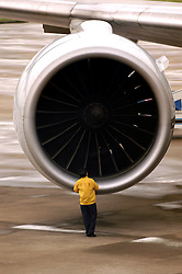 Passenger aircraft engine being examined at Shenzhen airport in China