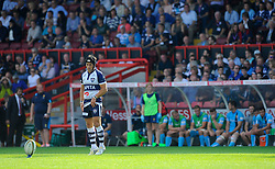 Bristol Fly-Half Matthew Morgan lines up a penalty kick at a busy Ashton Gate - Photo mandatory by-line: Joe Meredith/JMP - Mobile: 07966 386802 - 7/09/14 - SPORT - RUGBY - Bristol - Ashton Gate - Bristol Rugby v Worcester Warriors - The Rugby Championship