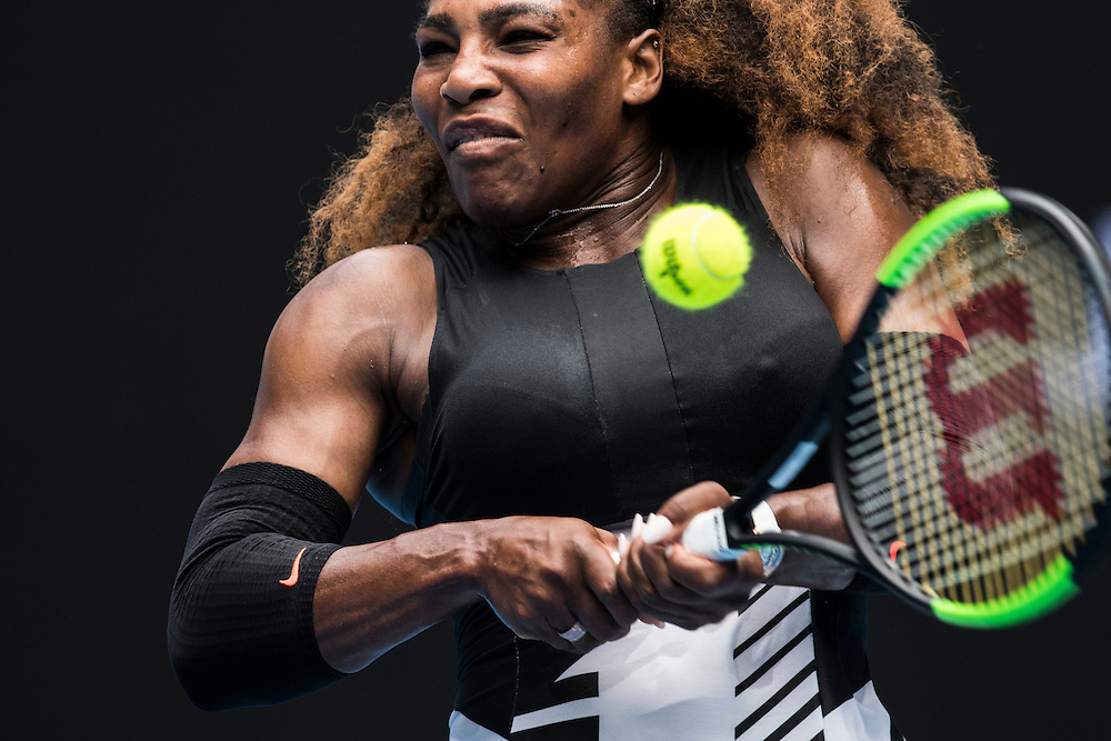 Serena Williams of the United States on day eight of the 2017 Australian Open at Melbourne Park on January 23, 2017 in Melbourne, Australia.<br /> (Ben Solomon/Tennis Australia)