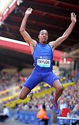 Christian Taylor (USA) places seventh in the long jump at 26-1½ (7.96m) during IAAF Birmingham Diamond League meeting at Alexander Stadium on Sunday, June 5, 2016, in Birmingham, United Kingdom. Photo by Jiro Mochizuki