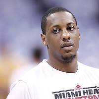14 June 2012: Miami Heat point guard Mario Chalmers (15) warms up prior to Game 2 - Heat at Thunder - of the 2012 NBA Finals, at the Chesapeake Energy Arena, Oklahoma City, Oklahoma, USA.