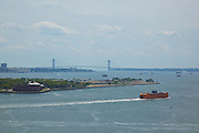 View of Governor's Island, Verrazano Bridge and Staten Island Ferry from 10 West Street, 19th floor