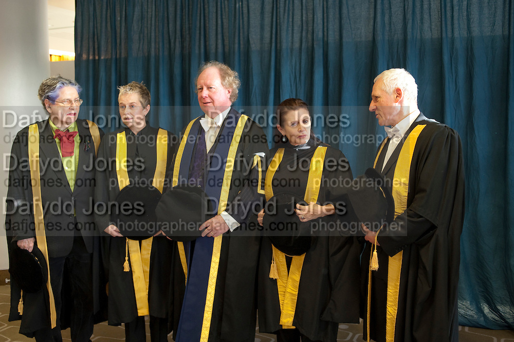 BETTE BOURNE; HELEN LANNAGHAN; PRINCIPAL GAVIN HENDERSON; CARRIE FISHER; JOSEPH SELIG, . Central School of Speech and Drama presents Honory Fellowships to Carrie Fisher, Bette Bourne, Joseph Selig and Helen Lannaghan. Royal Festival Hall. London. 12 December 2011.