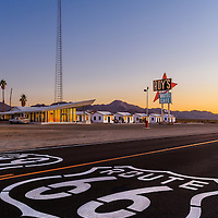 Roy's Gas Station and Motel complex along old Route 66m Ambot CA