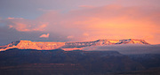 Grand Mesa with snow, sunset, Grand Junction, Colorado