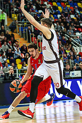 MOSCOW, Jan. 20, 2017  Nando De Colo (L) of CSKA Moscow of Russia breaks through during the Euroleague basketball game against Brose Bamberg of Germany in Moscow, Russia, on Jan. 19, 2017. CSKA won 85-64. (Credit Image: © Evgeny Sinitsyn/Xinhua via ZUMA Wire)