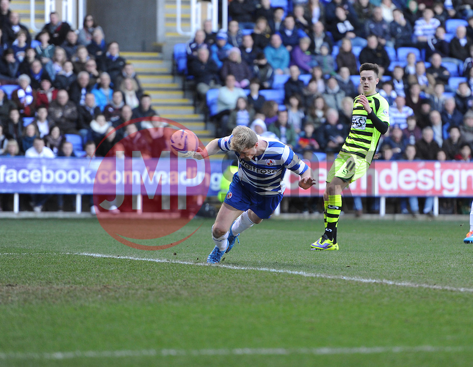 Reading's Pavel Pogrebnyak  diving header is ruled offside.  - Photo mandatory by-line: Alex James/JMP - Tel: Mobile: 07966 386802 01/03/2014 - SPORT - FOOTBALL - Reading - Madejski Stadium - Reading v Yeovil Town - Sky Bet Championship