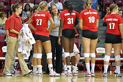 28 AUG 2009: Coach Melissa Myers listens to Hailey Kelley (31) during a time out. The Redbirds of Illinois State defeated the Runnin' Bulldogs of Gardner-Webb in 3 sets during play in the Redbird Classic on Doug Collins Court inside Redbird Arena in Normal Illinois