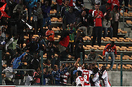 CAPE TOWN, SOUTH AFRICA - 11 FEBRUARY 2011, Ajax Cape Town players celebrate their first goal during the Absa Premiership match between Santos and Ajax Cape Town held at Athlone Stadium in Cape Town, South Africa..Photo by: Shaun Roy/Sportzpics