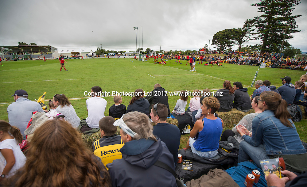 Fans, Hurricanes v Crusaders, Super rugby preseason match, Farmlands Grass Roots Rugby, Border Rugby Club, Waverley, New Zealand. Friday,  17 February, 2017. Copyright photo: John Cowpland / www.photosport.nz