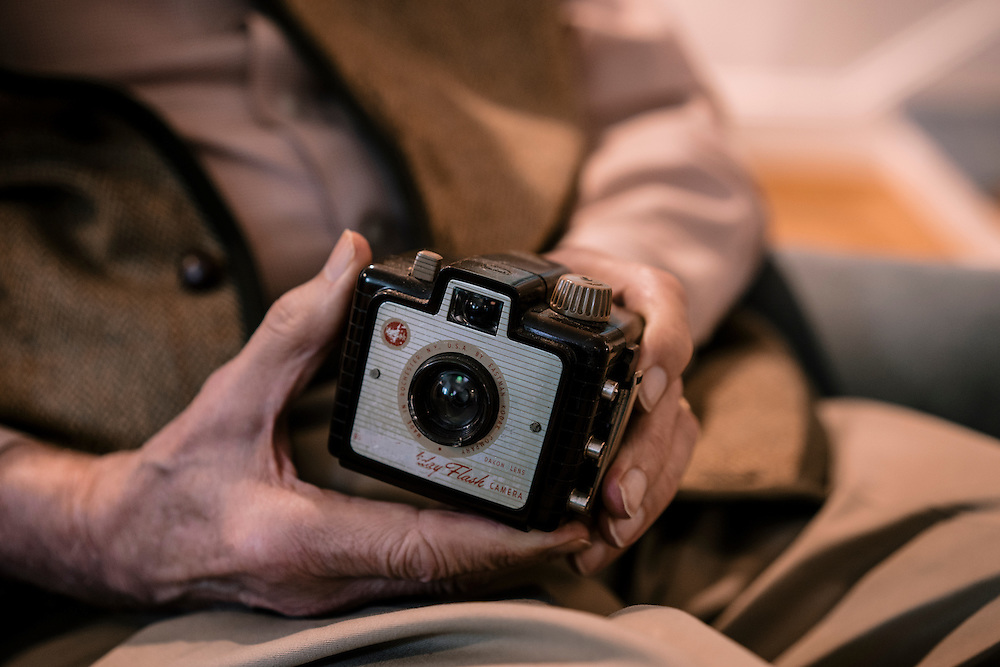 WASHINGTON, DC - MAY 12 William Christenberry holds his first Brownie camera at his home in NW Washington DC. (Photo by Greg Kahn/GRAIN for The Washington Post)