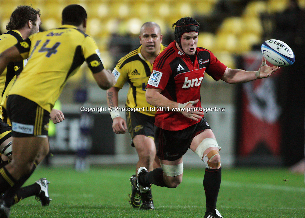 Matt Todd loses the ball forward. Super 15 rugby match - Crusaders v Hurricanes at Westpac Stadium, Wellington, New Zealand on Saturday, 18 June 2011. Photo: Dave Lintott / photosport.co.nz