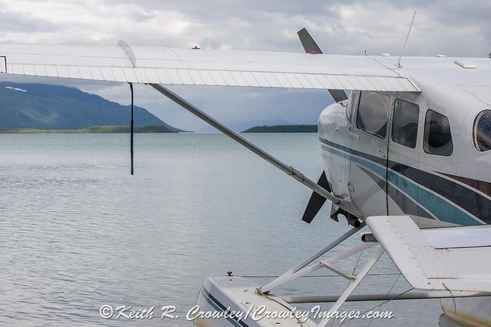 A float plane on Naknek Lake, waiting to depart Katmai National park near King Salmon, Alaska.