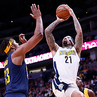 03 April 2018: Denver Nuggets forward Wilson Chandler (21) takes a jump shot over Indiana Pacers center Myles Turner (33) during the Denver Nuggets 107-104 victory over the Indiana Pacers, at the Pepsi Center, Denver, Colorado, USA.