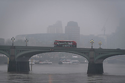 © Licensed to London News Pictures. 03/03/2018. London, UK. Mist shrouds Lambeth Bridge in Westminster on another freezing morning in the capital. Large parts of the UK are recovering from a week of sub zero temperatures and heavy snowfall, following two severe cold fronts. Photo credit: Ben Cawthra/LNP