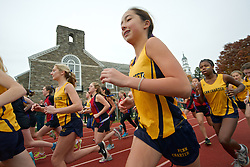 Philadelphia, PA, United States, November 9, 2019: Young female student athletes at the start of a cross-country race during the 127th Annual PC/GA Day held at the campus of the Penn Charter School in Philadelphia.<br /> <br /> Young female student athletes at the start of a cross-country race during the 127th Annual PC/GA Day.<br /> <br /> The cross-country race is part of an annual long standing inter-scholar sports competition between William Penn Charter School and Germantown Academy. <br /> <br /> Part of the PC/GA Day is the annual football match that is described to be the &quot;oldest uninterrupted schoolboy football rivalry in the United States&quot;.<br /> <br /> The races and matches of nine sports of the 127th edition of the PC/GA day are held on the campus of William Penn Charter School in the Northwest section of Philadelphia, PA, USA on November 9, 2013.<br /> <br /> ( This file is also available for online licensing in my iStock.com portfolio: http://www.istockphoto.com/search/portfolio/605863/?facets=%7B%2225%22%3A%226%22%7D#bd0812 )