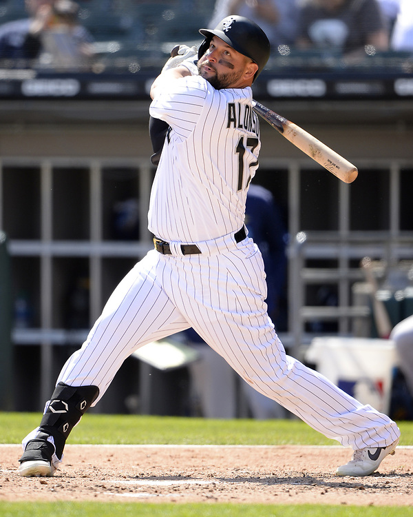 CHICAGO - APRIL 09:  Yonder Alonso #17 of the Chicago White Sox bats against the Tampa Bay Rays on April 9, 2019 at Guaranteed Rate Field in Chicago, Illinois.  (Photo by Ron Vesely)  Subject:   Yonder Alonso