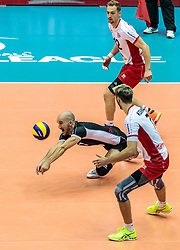 09.06.2017, TipsArena, Linz, AUT, FIVB, World League, Österreich vs Deutschland, Division III, Gruppe C, Herren, im Bild v.o.n.u. Alexander Berger (AUT), Philipp Kroiss (AUT), Lorenz Koraimann (AUT) // v.o.n.u. Alexander Berger (AUT), Philipp Kroiss (AUT), Lorenz Koraimann (AUT) during the men's FIVB, Volleyball World League, Division III, Group C match between Austria and Germany at the TipsArena in Linz, Austria on 2017/06/09. EXPA Pictures © 2017, PhotoCredit: EXPA/ JFK