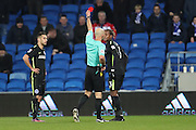 Brighton & Hove Albion full back Gaetan Bong (3) is shown a red card, sent off during the EFL Sky Bet Championship match between Cardiff City and Brighton and Hove Albion at the Cardiff City Stadium, Cardiff, Wales on 3 December 2016.