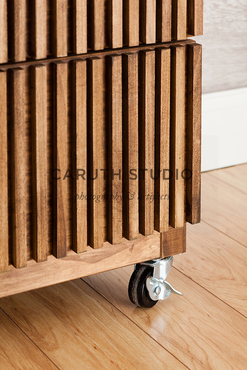 One Dresser Three Ways: detail of casters and wood dowel application