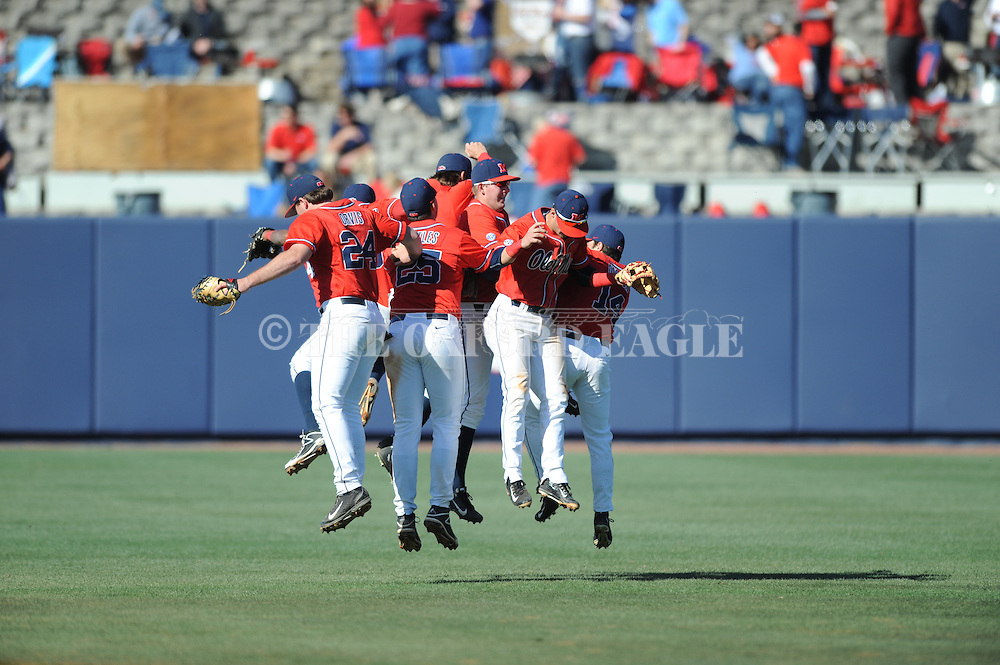 Ole Miss players celebrate the win vs. Stetson at Oxford-University Stadium in Oxford, Miss. on Saturday, March 7, 2015. Ole Miss won 8-3 in game 1 of a doubleheader to improve to 7-5.