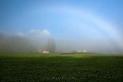 Fogbow and Farm, Olympic Penninsula, WA.<br /> <br /> So often I am struck by a vision in a difficult place to shoot, and end up letting it go.  Having left Port Angeles before sunrise, I was some ways towards Tacoma when this scene unfolded--all I had to do was pull off and grab it.   The sun was breaching hills behind and to the side of me, causing a massive foreground shadow, but pulling in a side road towards the farmhouse, or going back up the way I came were not optimal for the fogbow, so now I was stuck with the hiway and nowhere to pull off.   Most of me was saying screw it, it's too much hassle, when I found a little roadside track that went up into the woods, and said screw it I'm getting it.  I splashed into tractor ruts, jumped out with my gear into the mud, hurried up and across the road, jumped a ditch into knee high wet grass, and got a few images next to the fence before the apparition disappeared.  The contrast made processing on this image a bear.  Sometimes even the ones that should be easy...are not.