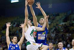 Damjan Rudez of Olimpija and Miha Zalokar of Helios at third finals basketball match of Slovenian Men UPC League between KK Union Olimpija and KK Helios Domzale, on June 2, 2009, in Arena Tivoli, Ljubljana, Slovenia. (Photo by Vid Ponikvar / Sportida)