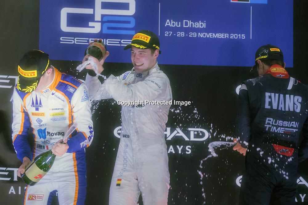 Mitch Evans (NZL) 3rd: Rafaelle Marciello (ITA) 2nd: Stoffel Vandoorne (BEL) 1st. Feature race podium of the 2015 GP2 Abu Dhabi Grand Prix on 28 November 2015. Copyright photo: Paolo Pellegrini / www.photosport.nz