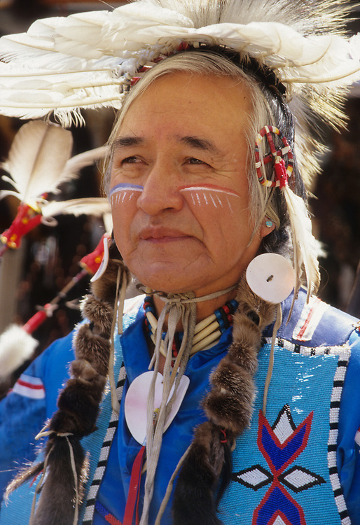 North America, United States, Washington, Seattle, Native American dancer at powwow.  MR