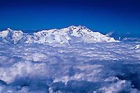 Aerial view of Mount Kanchenjunga (28, 208 feet), the third highest mountain in the world, Himalaya range, Nepal/Sikkim border