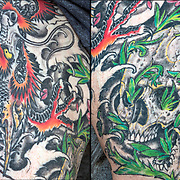 Steven Crisafi's  Japanese Dragon on left leg. They are  the &quot;Balance of good and Evil&quot; for Steve. The skull is half way down his leg on the side.<br /> <br /> Body art or tattoos has entered the mainstream it is no longer considered a weird kind of subculture.<br /> <br /> &quot;According to a 2006 Pew survey, 40% of Americans between the ages of 26 and 40 have been tattooed&quot;.
