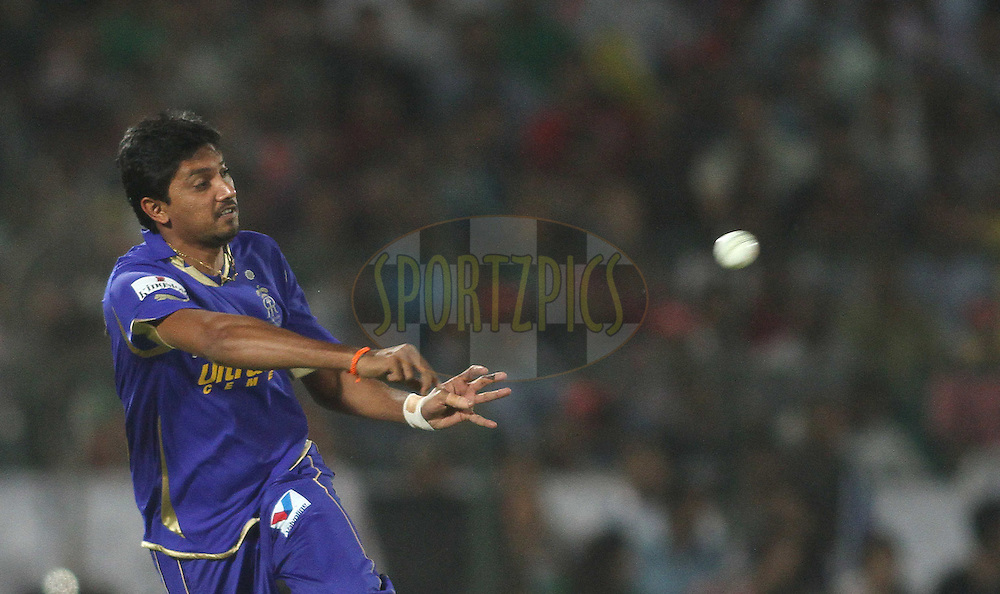 Siddharth Trivedi of the Rajasthan Royals throws in while trying to force a runout during match 30 of the the Indian Premier League (IPL) 2012  between The Rajasthan Royals and the Royal Challengers Bangalore held at the Sawai Mansingh Stadium in Jaipur on the 23rd April 2012..Photo by Shaun Roy/IPL/SPORTZPICS