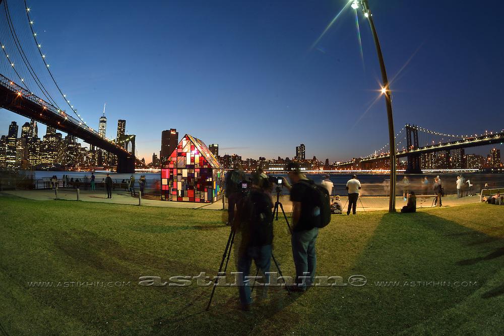 Twilight in Brooklyn Bridge Park, New York City.