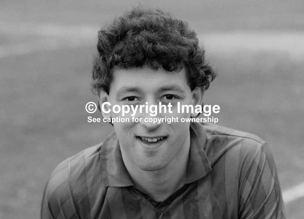 Ian Brown, footballer, Ards FC, Newtownards, N Ireland, March 1986, 19860303IB<br /> <br /> Copyright Image from Victor Patterson, 54 Dorchester Park, <br /> Belfast, UK, BT9 6RJ<br /> <br /> t1: +44 28 9066 1296 (from Rep of Ireland 048 9066 1296)<br /> t2: +44 28 9002 2446 (from Rep of Ireland 048 9002 2446)<br /> m: +44 7802 353836<br /> <br /> e1: victorpatterson@me.com<br /> e2: victorpatterson@gmail.com<br /> <br /> www.victorpatterson.com<br /> <br /> Please see my Terms and Conditions of Use at VICTORPATTERSON.COM. It is IMPORTANT that you familiarise yourself with them.<br /> <br /> Images used on the Internet must be visibly watermarked i.e. ©VICTORPATTERSON.COM within the body of the image and copyright metadata must not be deleted. Images used on the Internet have a size restriction of 4kbs and are chargeable at the then current NUJ rates.<br /> <br /> This image is only available for the use of the download recipient i.e. television station, newspaper, magazine, book publisher, etc, and must not be passed on to any third party. It is also downloaded on condition that each and every usage is notified within 7 days to victorpatterson@me.com<br /> <br /> The right of Victor Patterson to be identified as the author is asserted in accordance with The Copyright Designs And Patents Act (1988).