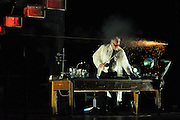André Wilms performing in Heiner Goebbels: Max Black staged concert.