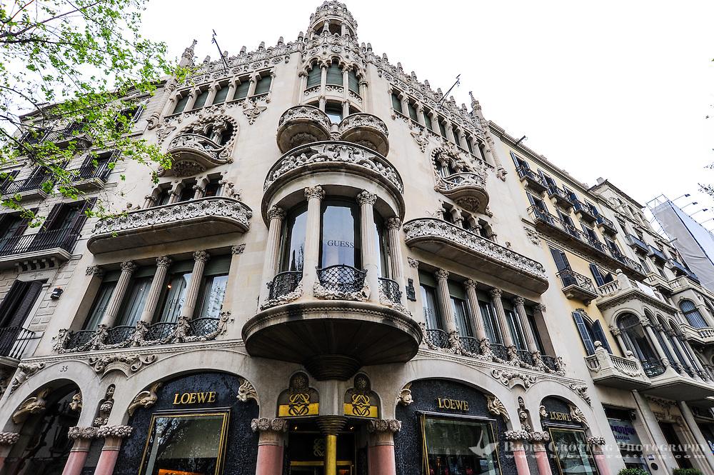 Spain, Barcelona. The Casa Lleó-Morera is a building designed by Lluís Domènech i Montaner.