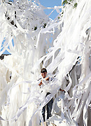 AUBURN, AL - APRIL 20:  An Auburn fan is inundated with toilet while standing in the Auburn Oaks, at the Toomer's Corner Celebration on April 20, 2013 in Auburn, Alabama.  (Photo by Mike Zarrilli/Getty Images)