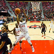22 February 2017: The San Diego State Aztec's mens basketball team hosts Fresno State Wednesday night. The Bulldogs beat the Aztecs 63-55. www.sdsuaztecphotos.com