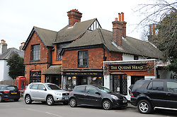© Licensed to London News Pictures. 22/03/2015<br /> The Queens Head Pub,Downe.<br /> UKIP Leader Nigel Farage has been chased out of his local pub The Queens Head in Downe in Kent today (22.03.2015) Nigel was with his wife and children when protesters descended upon the pub after looking in The George and Dragon pub which is in the same village.<br /> (Byline:Grant Falvey/LNP)
