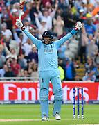 England win - Joe Root of England celebrates beating Australia during the ICC Cricket World Cup 2019 semi final match between Australia and England at Edgbaston, Birmingham, United Kingdom on 11 July 2019.