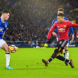 Jesse Lingard of Manchester United  on the ball during the Premier League match between Everton and Manchester United, Goodison Park, Monday 1st January 2018<br /> (c) John Baguley | SportPix.org.uk