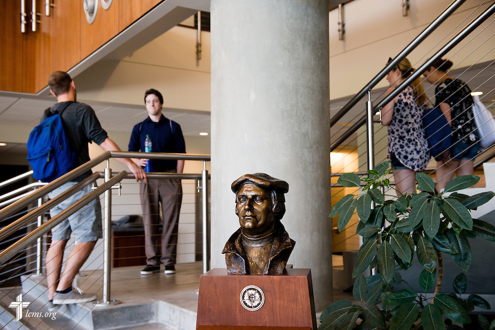 Students congregate near a bust of Martin Luther in the George R. White Library and Learning Center at Concordia University on Friday, July 11, 2014, in Portland, Ore. LCMS Communications/Erik M. Lunsford