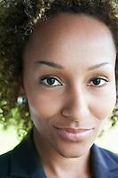 Woman smiling outdoors close-up portrait